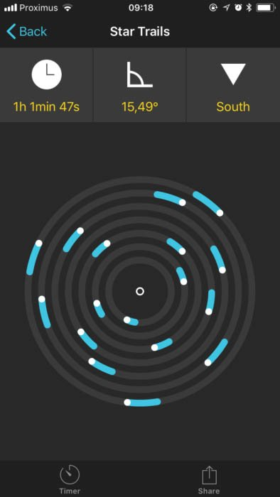 screenshot of the PhotoPills app, showing the Star Trail Module