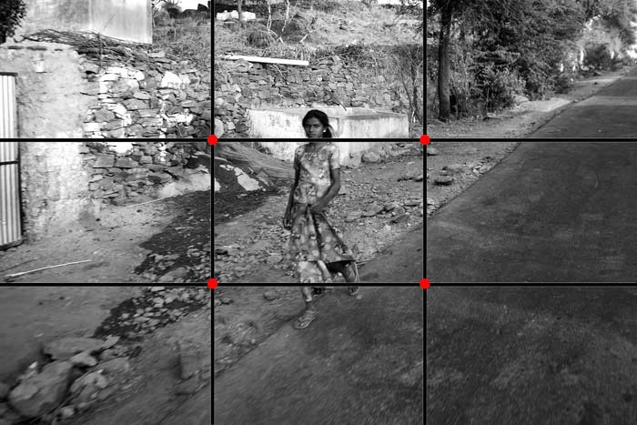Photo of a young woman showing the Rule of Thirds used incorrectly