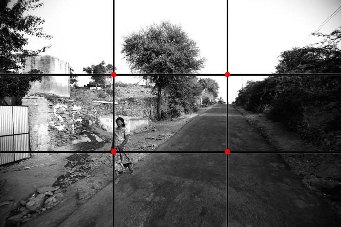A street photography scene with the rule of thirds grid overlayed