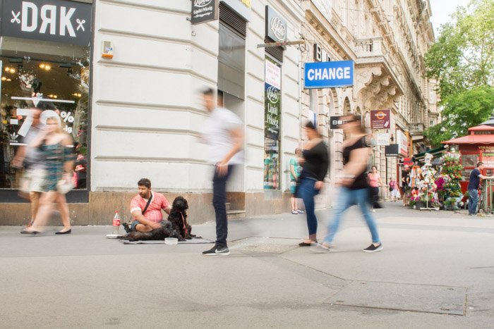 Use an ND filter to remove people from your street photography