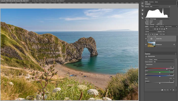 editing a colour image to black and white in photoshop