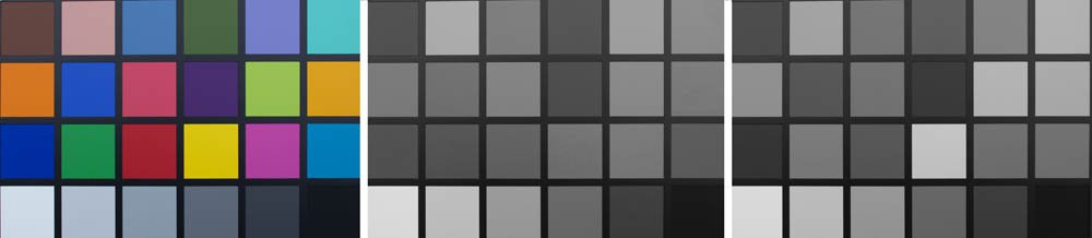 picture of a Colour test card. Desaturation and Grayscale