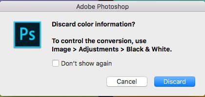 photoshop discard colour information