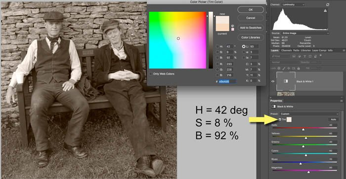 adding a sepia tint to a black and white photo in photoshop
