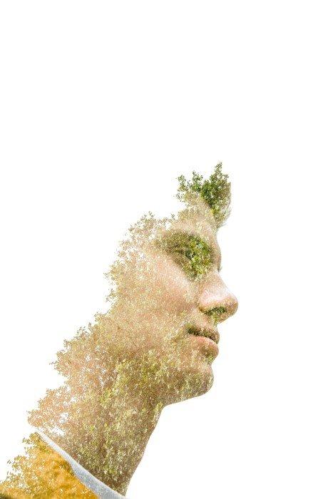 Double-exposure effect portrait of a man
