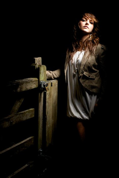 Portrait of a female model using dramatic lighting