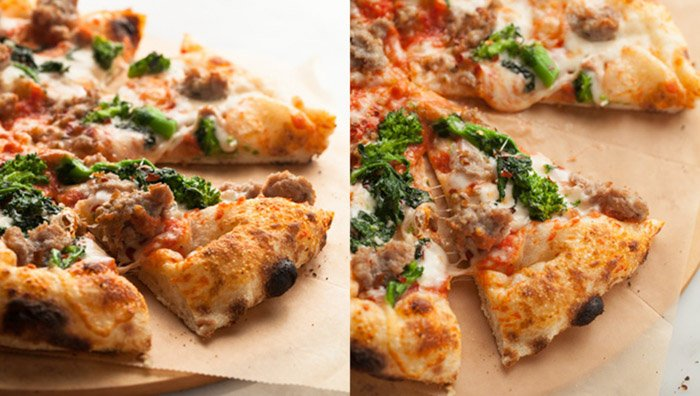 Diptych photo of pizza, shot using different photography lighting