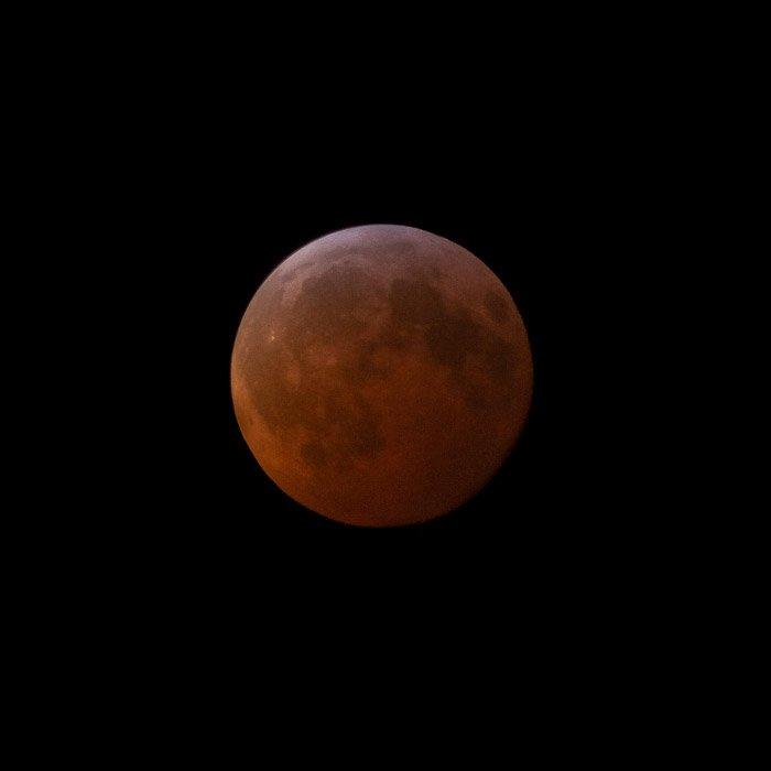 Close up of a lunar eclipse