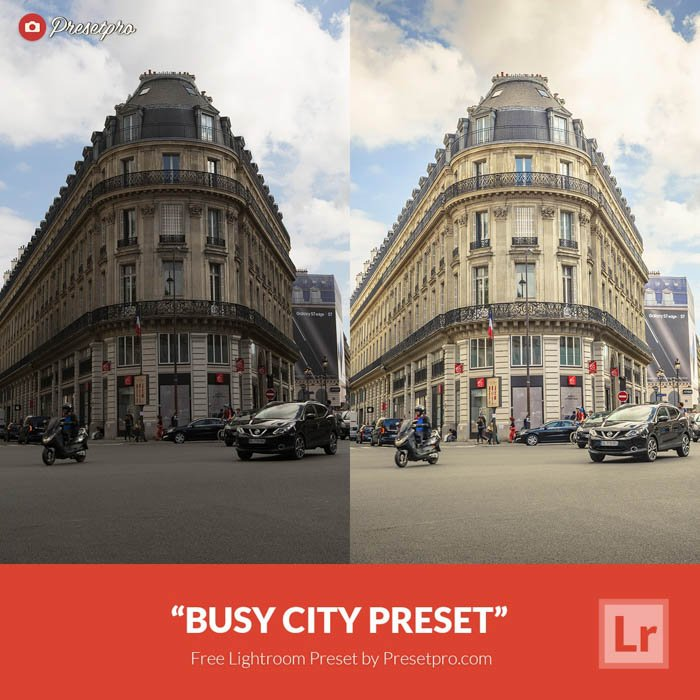 Showing a before and after photograph of a street using free Lightroom presets - busy street