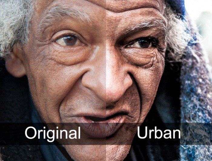 Showing a before and after portrait using free Lightroom presets - Grungy Street Portraits