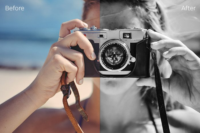 Showing a before and after photograph using free Lightroom presets - High Contrast