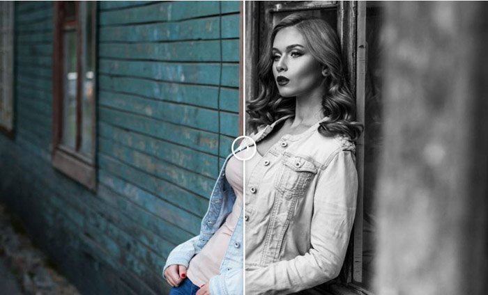 Showing a before and after photograph of a girl using free Lightroom presets in Monochrome