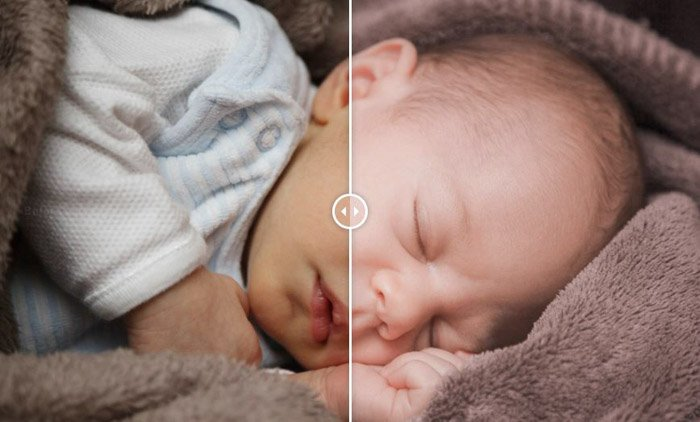 Showing a before and after photograph of a newborn baby using free Lightroom presets - Newborn
