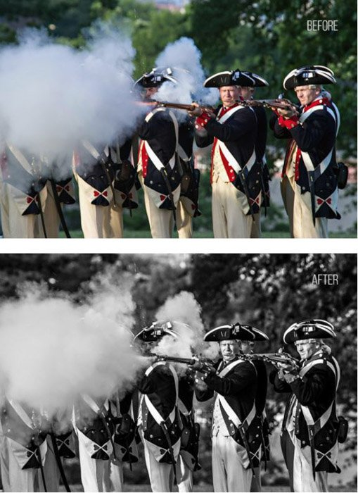 Showing a before and after photograph of a militia using free Lightroom presets - Sharp Black & White