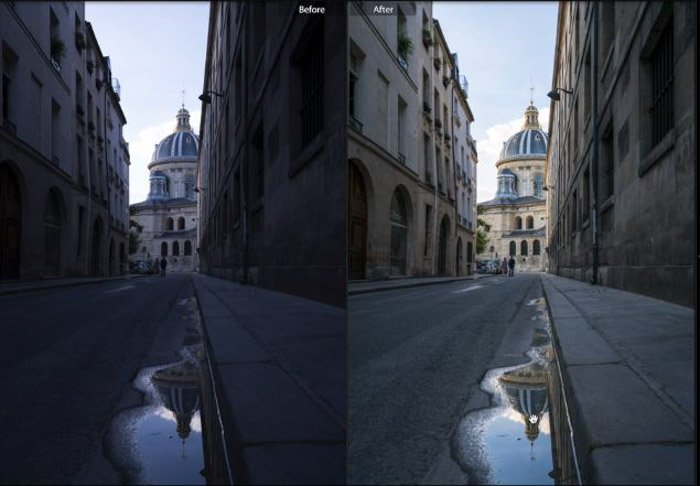 Showing a before and after photograph of a street using free Lightroom presets - Street View