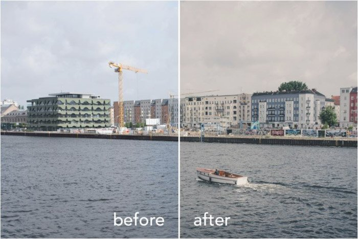 Showing a before and after of a water scene using free Lightroom presets - Filtergrade