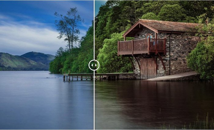 Showing a before and after image of a water-side cabin using presets for lightroom by Travel by Photonify