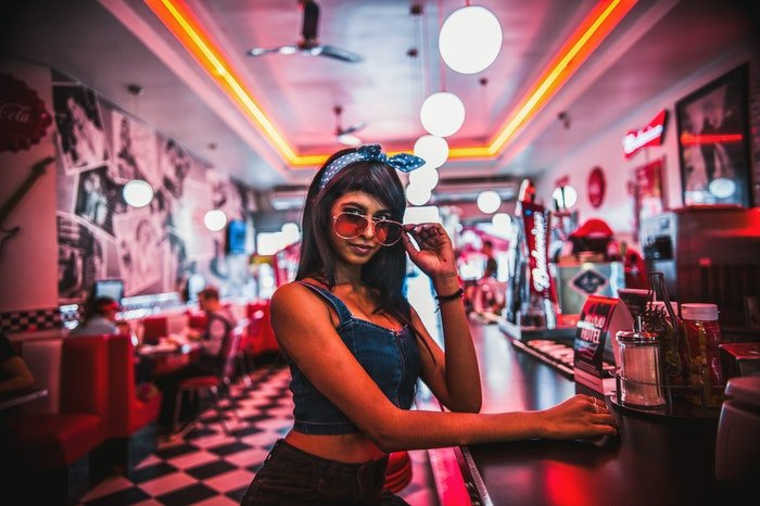 A woman in a diner