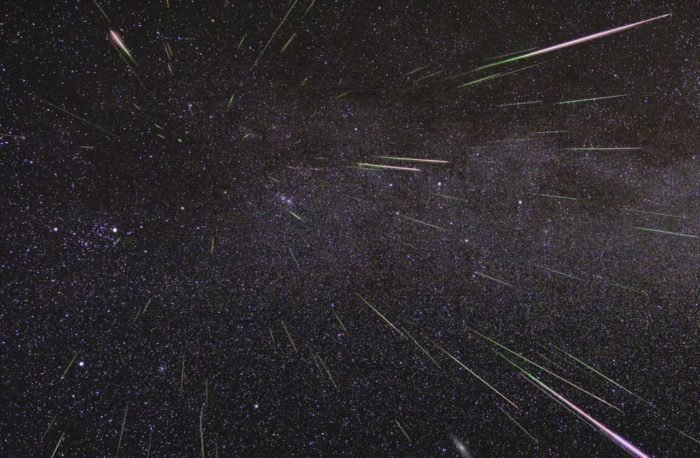 Astrophotography shot of a meteor shower