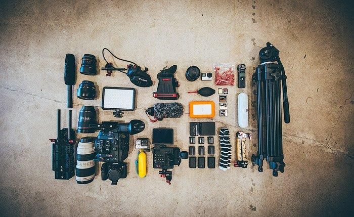 A flatlay of photography gear
