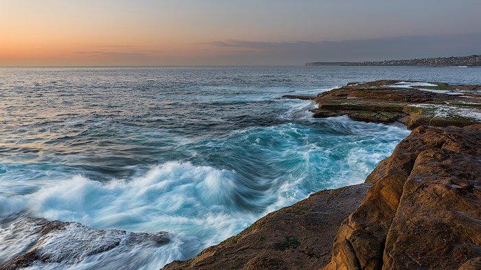 Rocky waves on a coastal seascape