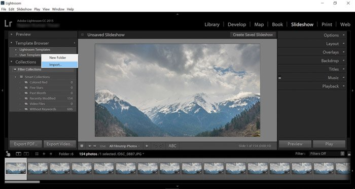 A screenshot of using Lightroom for time-lapse photography projects