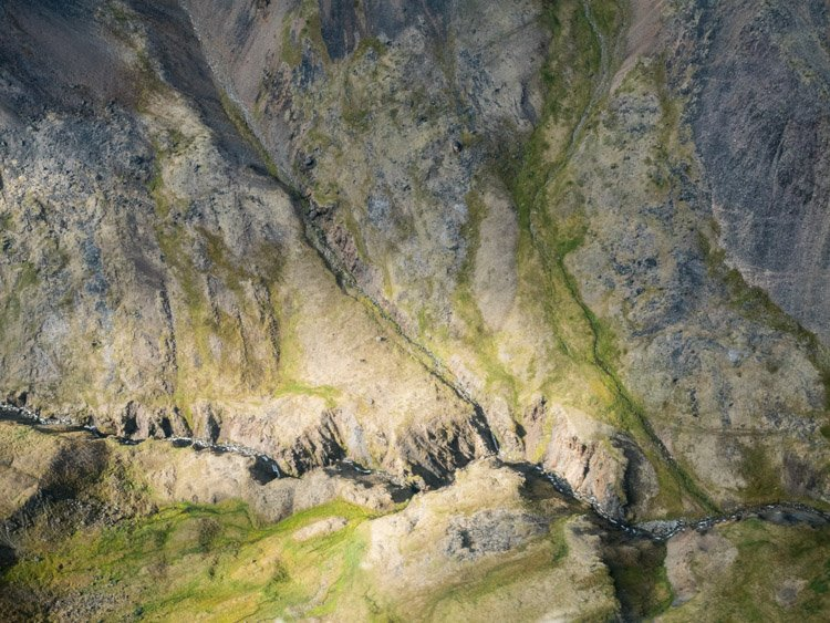 Aerial photography view of a rocky mountainous landscape