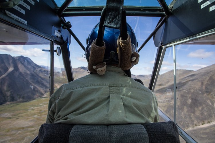Shot from the backseat of a helicopter. Aerial photography