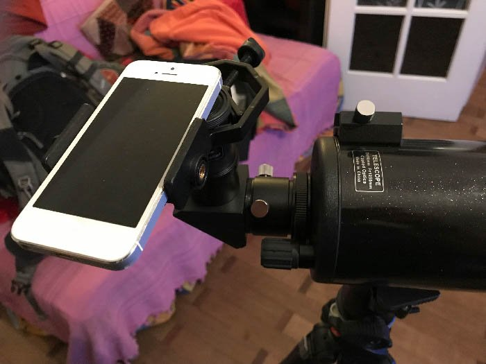 Afocal Projection Using Smartphone iPhone attached to a telescope