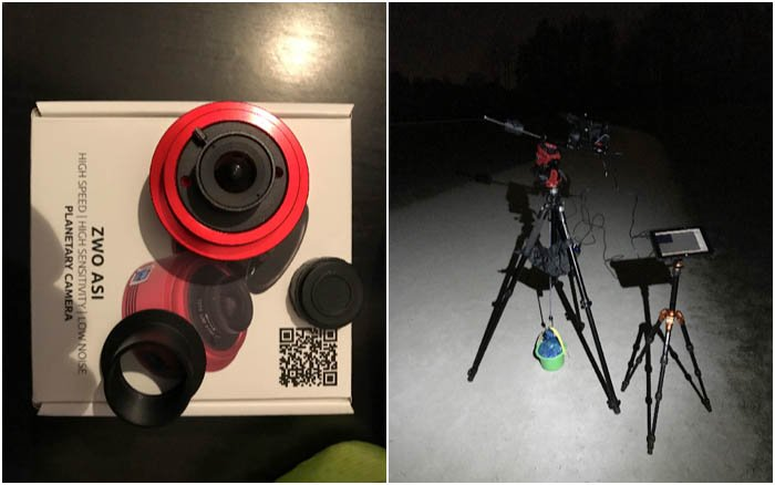 ASI ZWO 120MC planetary camera and field setup for astrophotography with a windows tablet