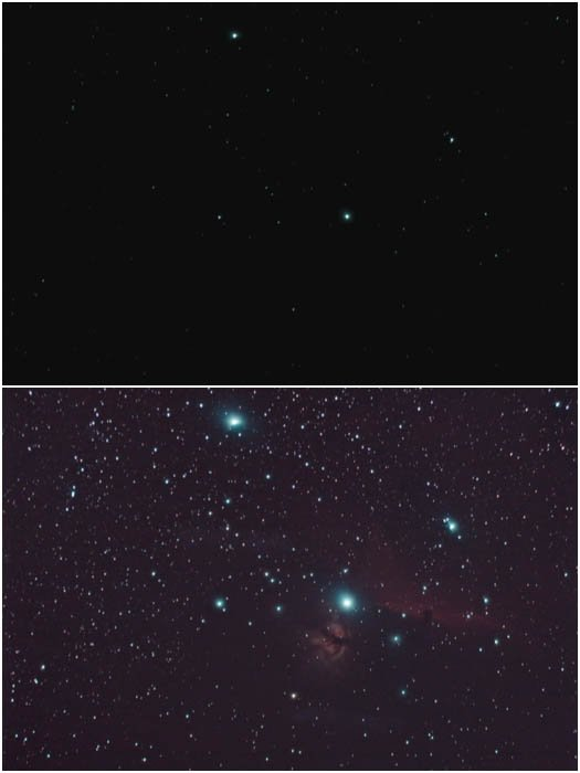 histogram stretching on a stacked image of the Flame and Horse Head Nebuale
