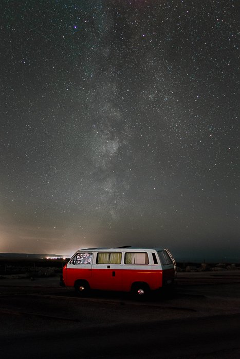 better colours andmore details and less noise after image stacking of the starry photo