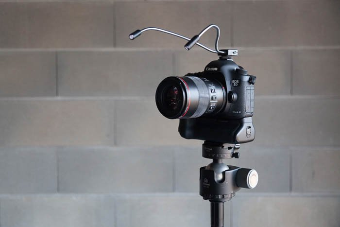 LED lighting set up on camera
