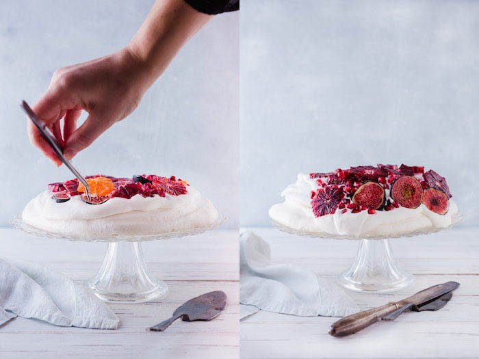 A diptych of styling a cake for food photography