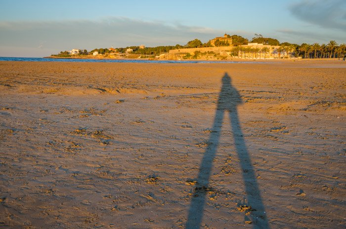 A shot of a shadow during the golden hours