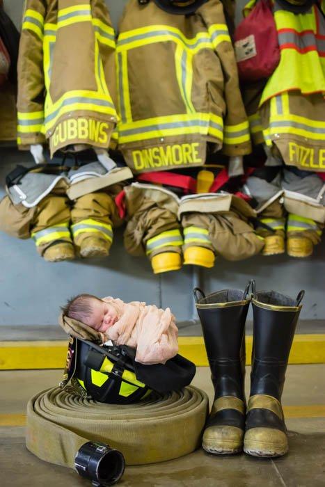 creative baby picture, baby in firefight helmet