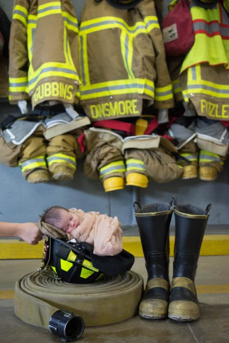 baby in firefight helmet, creative baby picture