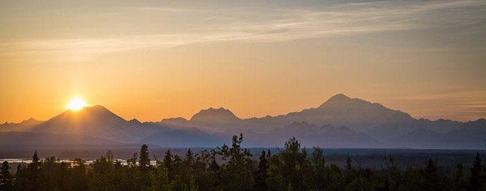 A beautiful panoramic sunset photo of Alaskan landscape