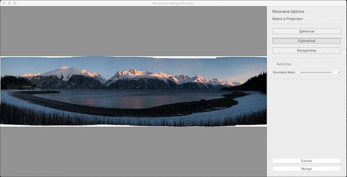 A stunning panoramic photo of an icy landscape being edited in Lightroom
