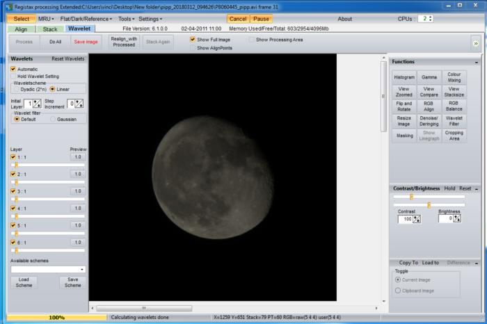moon photo registax processing