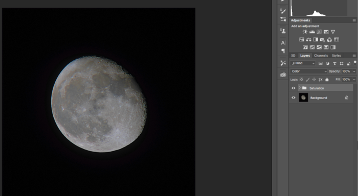 blending adjustment in photoshop cc of a photo of the moon