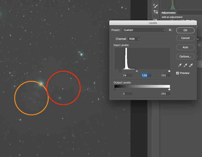 histogram stretching in photoshop cc starry sky photo