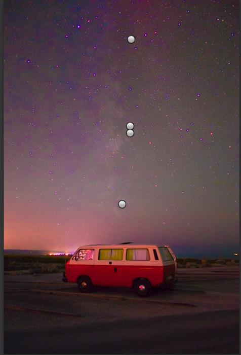 red and white caravan under the starry sky astrophotography tweaking white balance