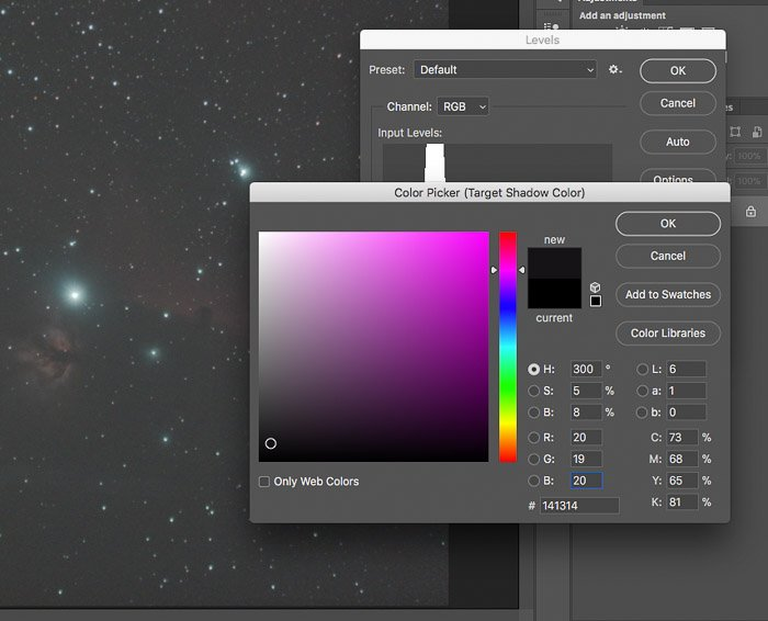 post processing astrophotography screenshot colour picker