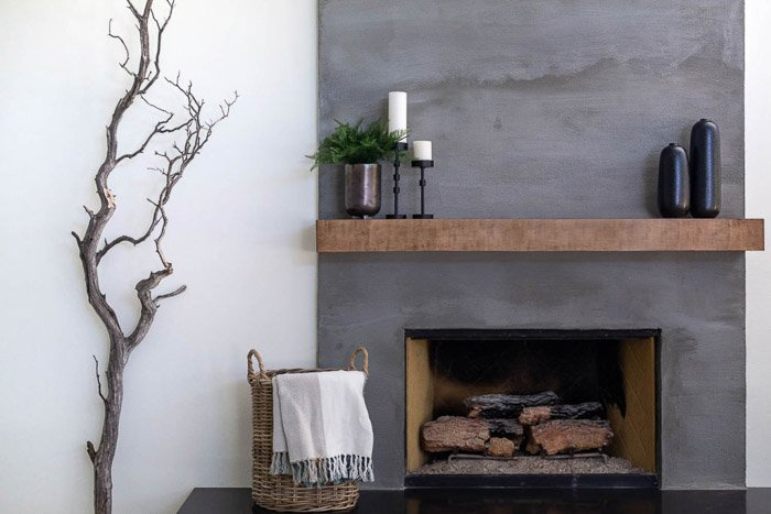 photo of a stylish interior with a fireplace