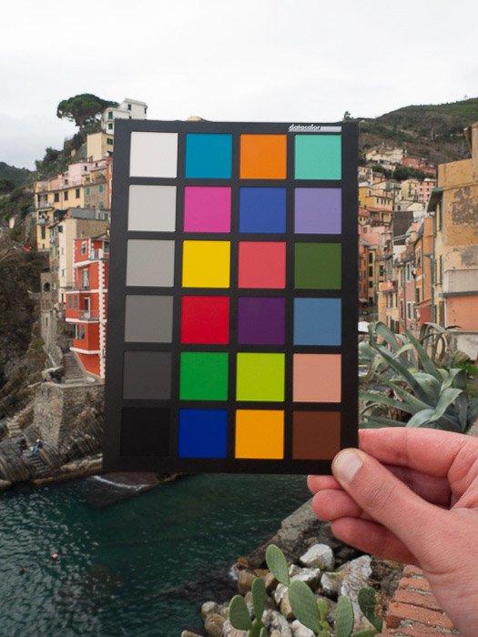 A hand holding a color checker against a landscape