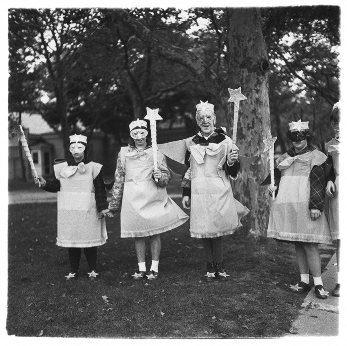 Black and white group portrait by Diane Arbus