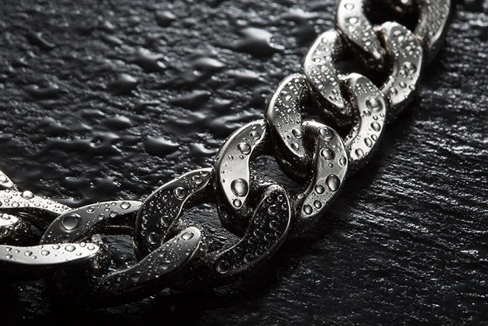 A silver chain shot with diy lighting