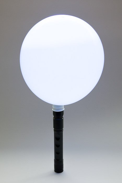 A DIY light box effect created with a balloon