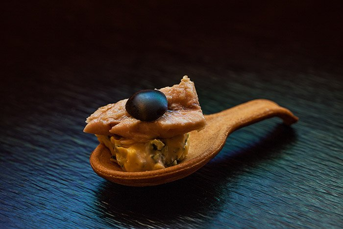 A food photography close up shot with diy color gel lighting